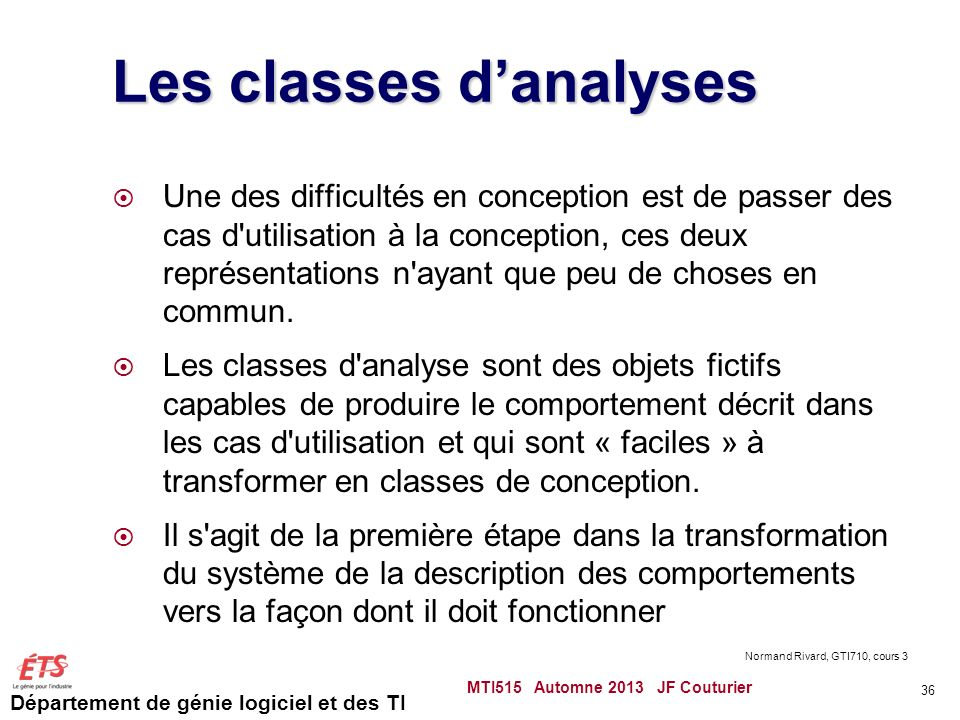 Les classes d'analyses