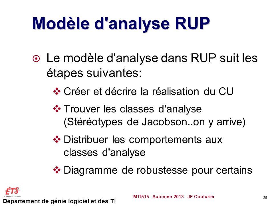 Modèle d analyse RUP Le modèle d analyse dans RUP suit les étapes suivantes: Créer et décrire la réalisation du CU.