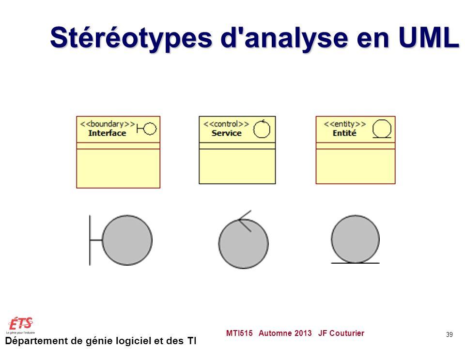 Stéréotypes d analyse en UML