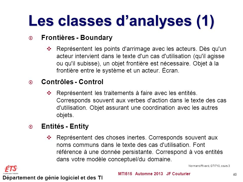 Les classes d'analyses (1)
