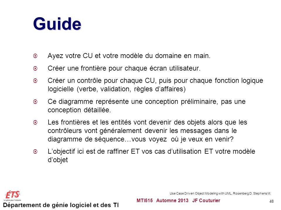 Guide Ayez votre CU et votre modèle du domaine en main.