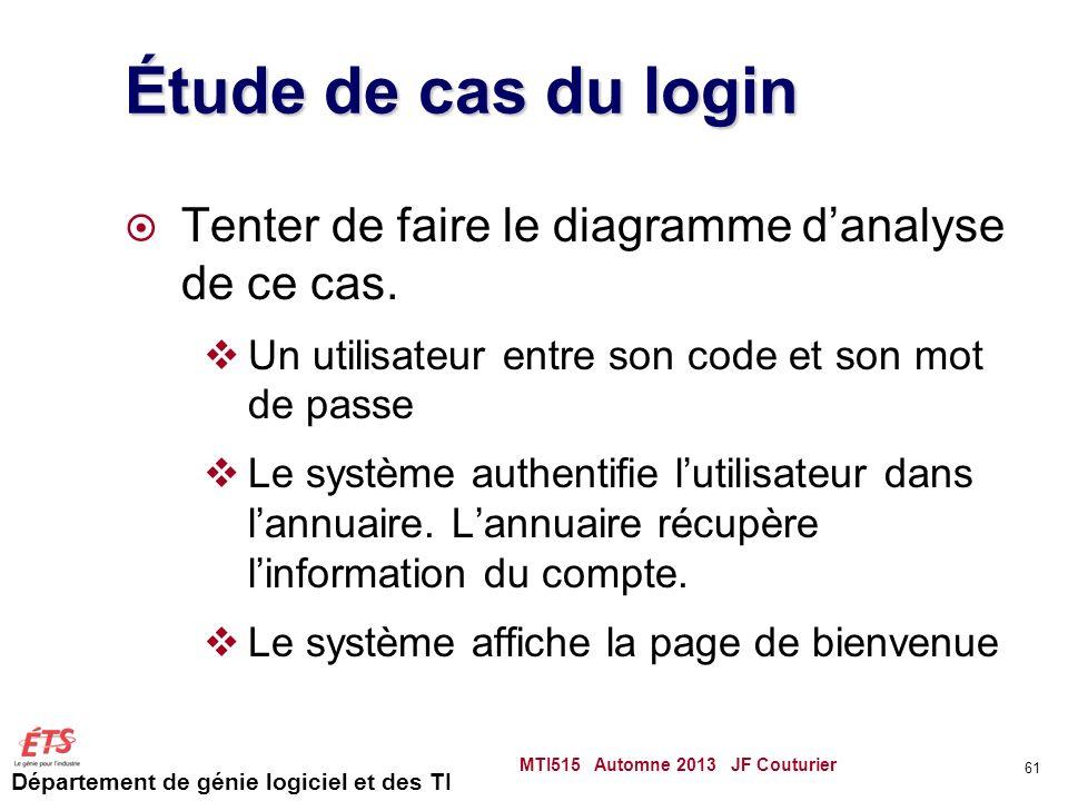 Étude de cas du login Tenter de faire le diagramme d'analyse de ce cas. Un utilisateur entre son code et son mot de passe.