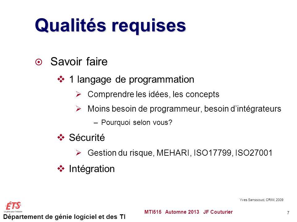Qualités requises Savoir faire 1 langage de programmation Sécurité