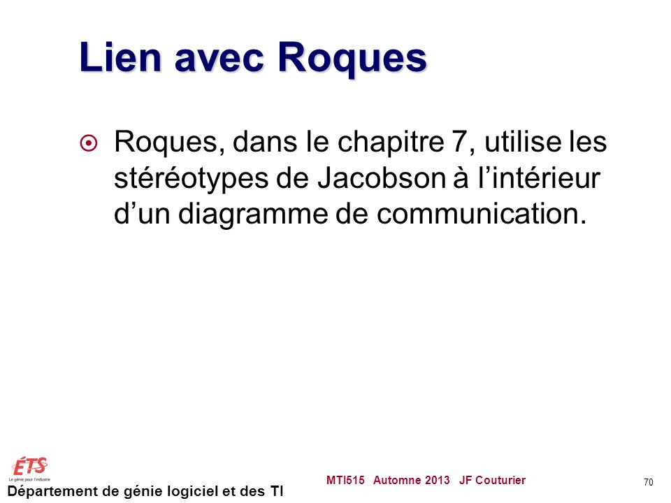 Lien avec Roques Roques, dans le chapitre 7, utilise les stéréotypes de Jacobson à l'intérieur d'un diagramme de communication.