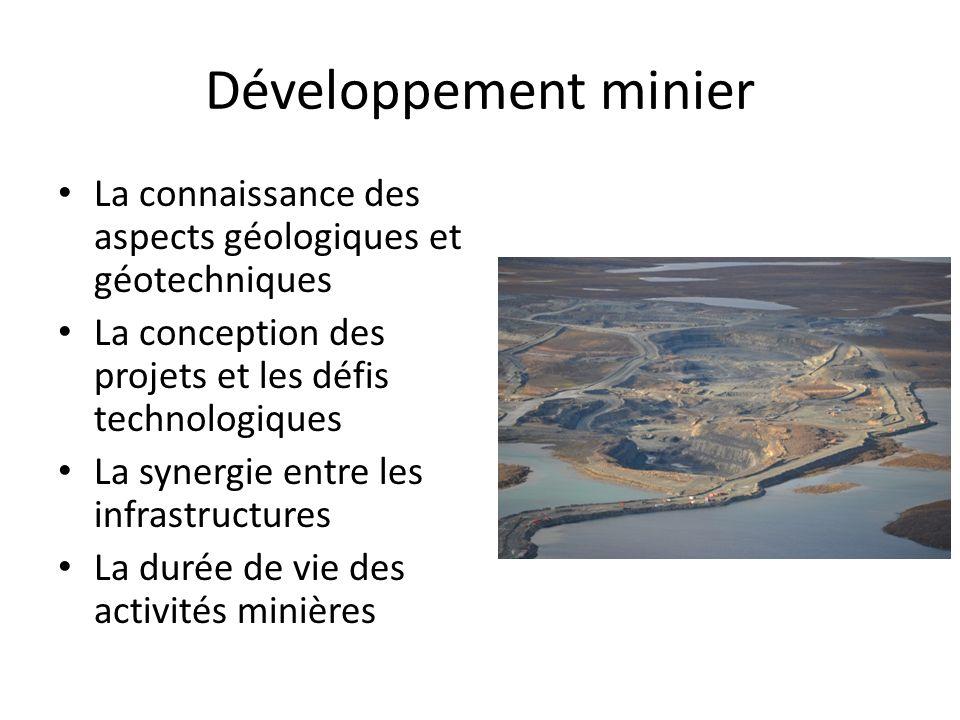 Développement minier La connaissance des aspects géologiques et géotechniques. La conception des projets et les défis technologiques.