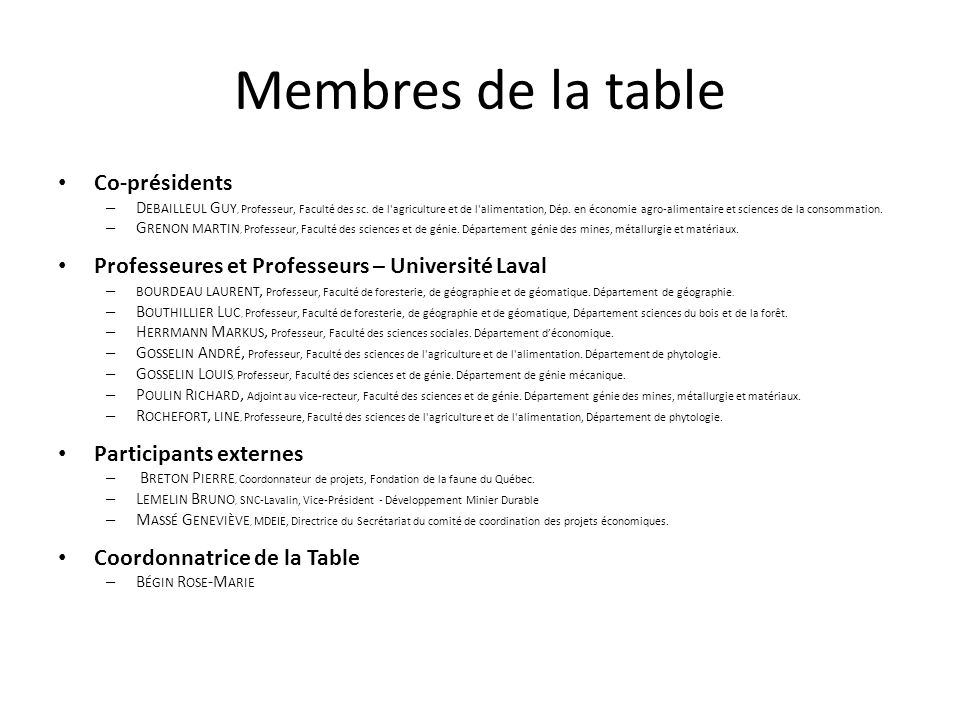 Membres de la table Co-présidents