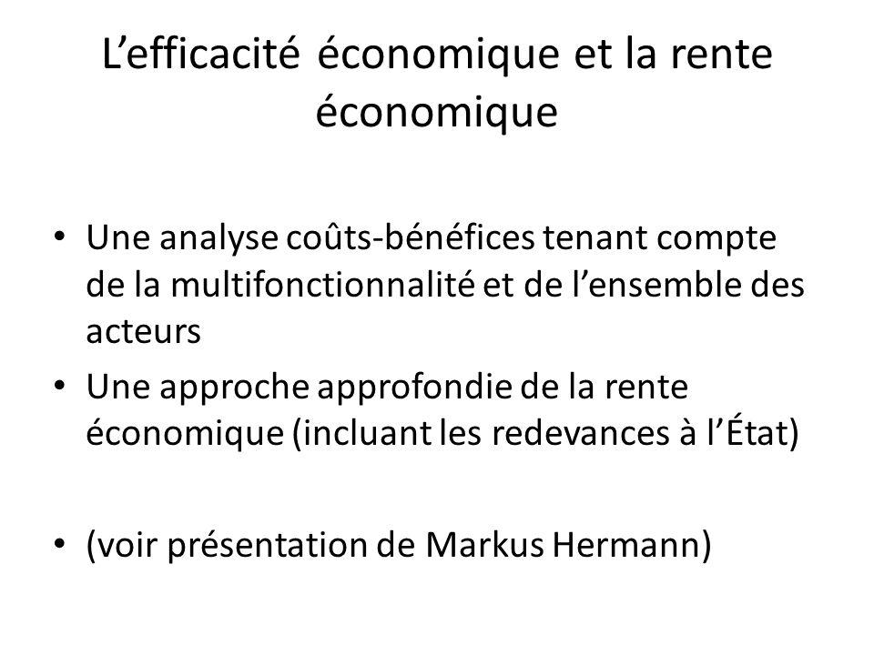 L'efficacité économique et la rente économique