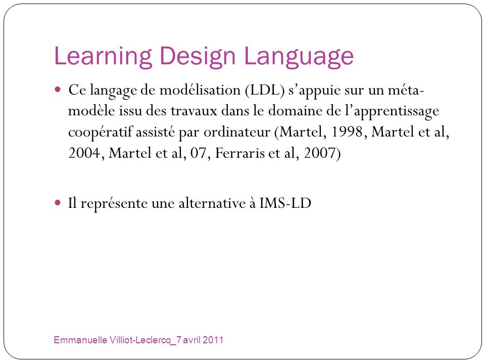 Learning Design Language