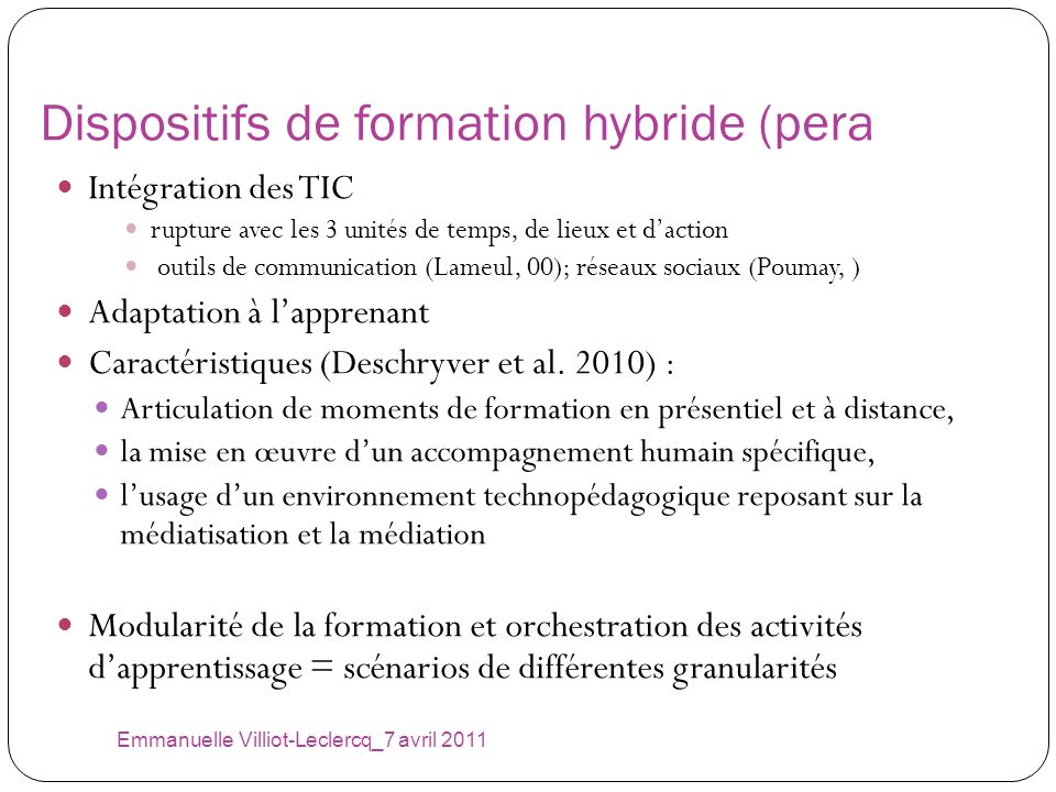 Dispositifs de formation hybride (pera