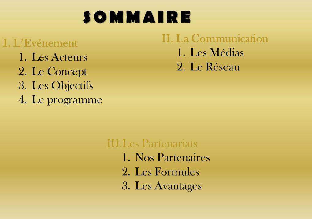 SOMMAIRE II. La Communication I. L'Evénement Les Médias Les Acteurs