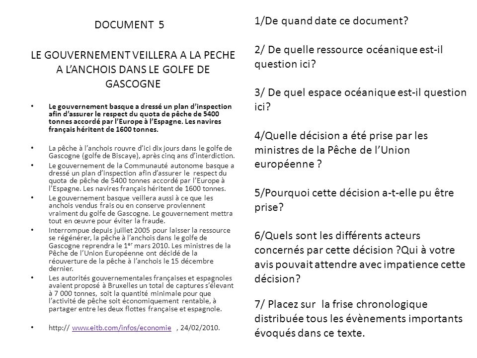 1/De quand date ce document