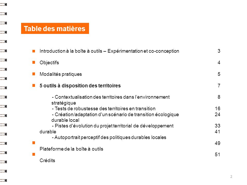 Table des matières Introduction à la boîte à outils – Expérimentation et co-conception. Objectifs.