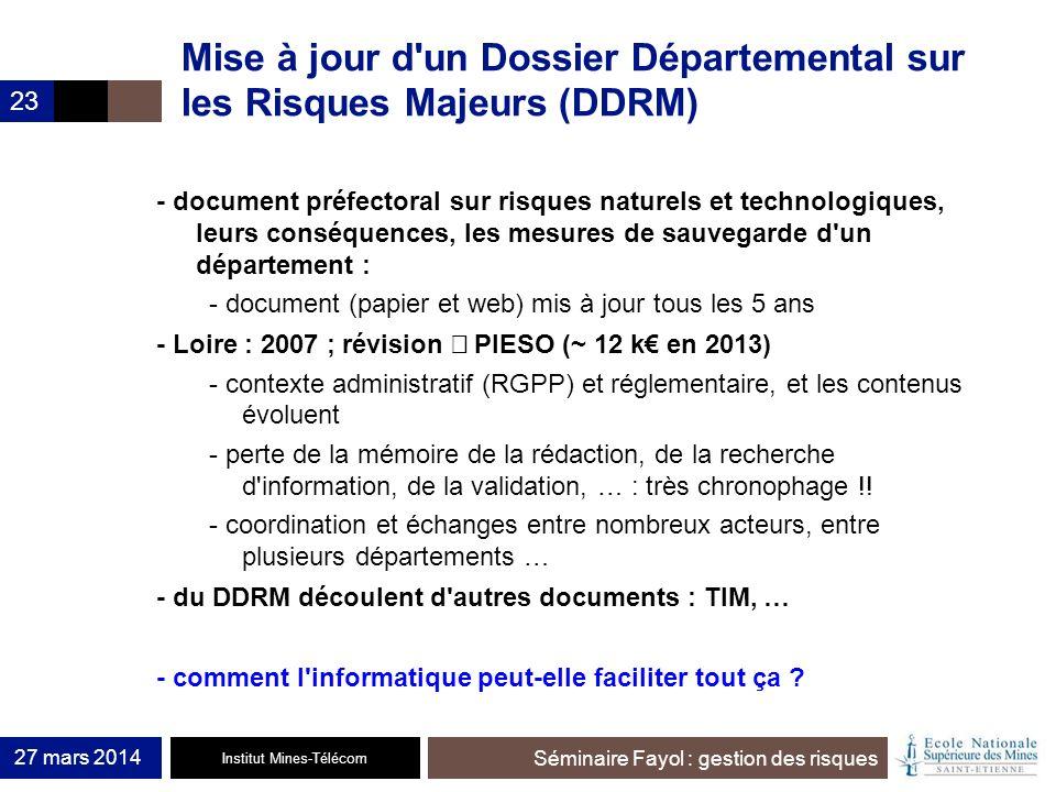 Mise à jour d un Dossier Départemental sur les Risques Majeurs (DDRM)