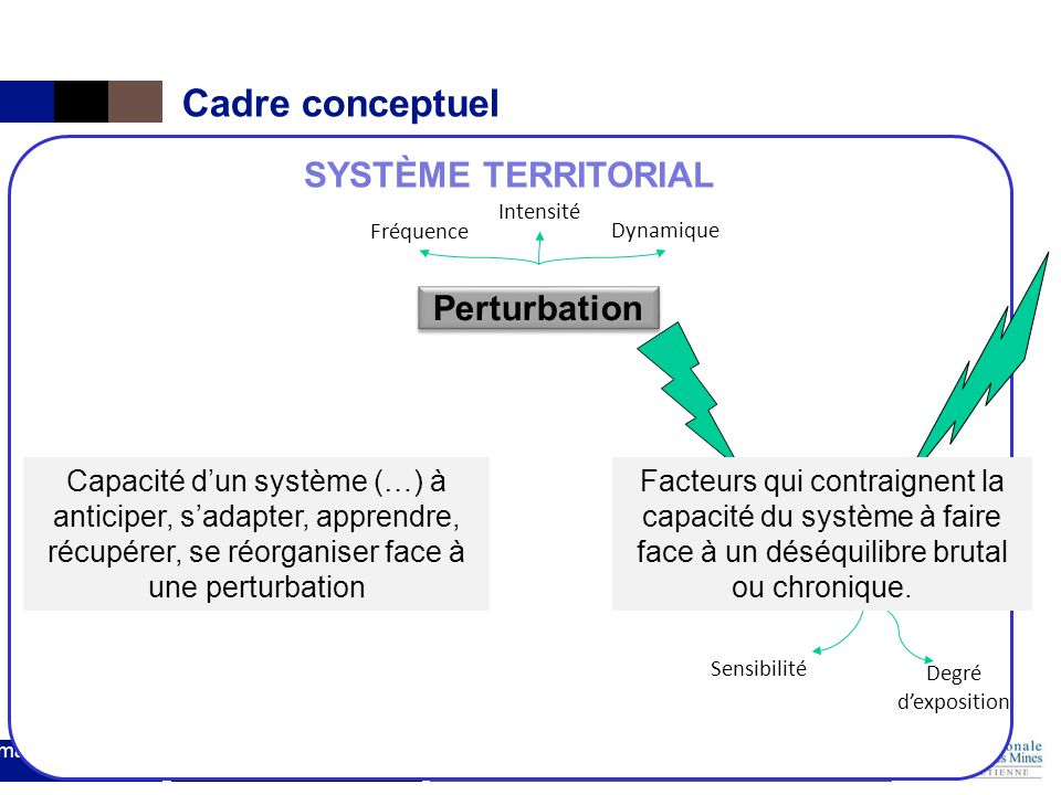 Cadre conceptuel SYSTÈME TERRITORIAL Perturbation Enjeux Capacité