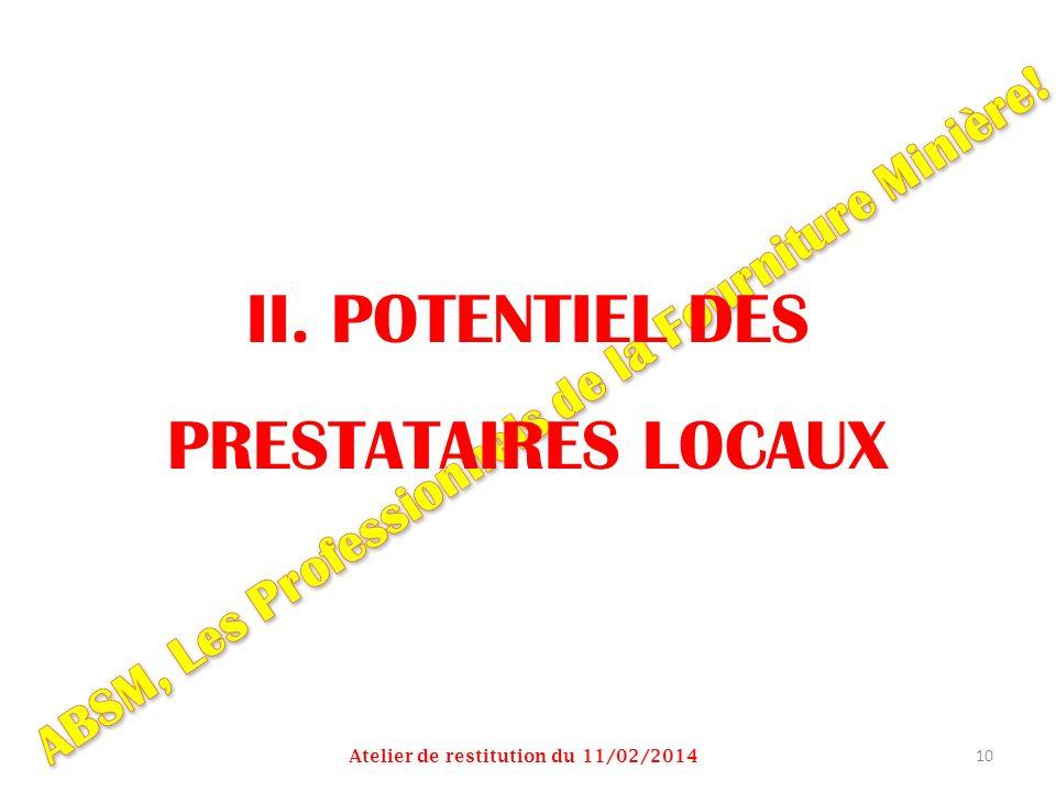 II. POTENTIEL DES PRESTATAIRES LOCAUX