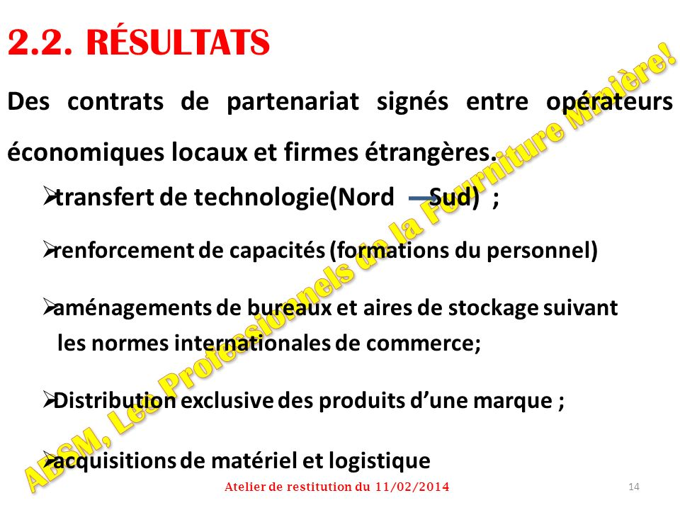 2.2. RÉSULTATS ABSM, Les Professionnels de la Fourniture Minière!