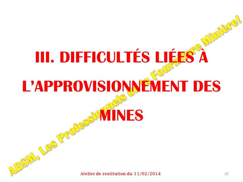 III. DIFFICULTÉS LIÉES À L'APPROVISIONNEMENT DES MINES