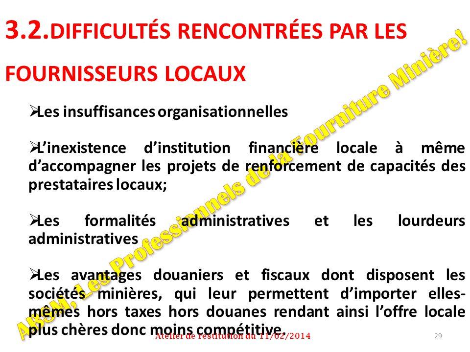 3.2.DIFFICULTÉS RENCONTRÉES PAR LES FOURNISSEURS LOCAUX