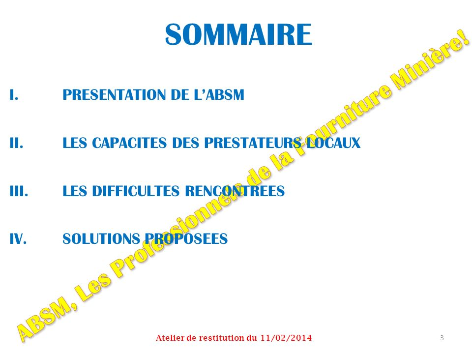 SOMMAIRE ABSM, Les Professionnels de la Fourniture Minière!