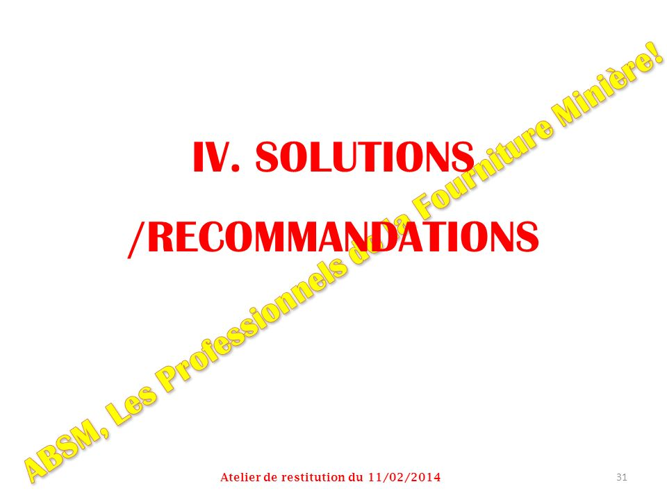 IV. SOLUTIONS /RECOMMANDATIONS