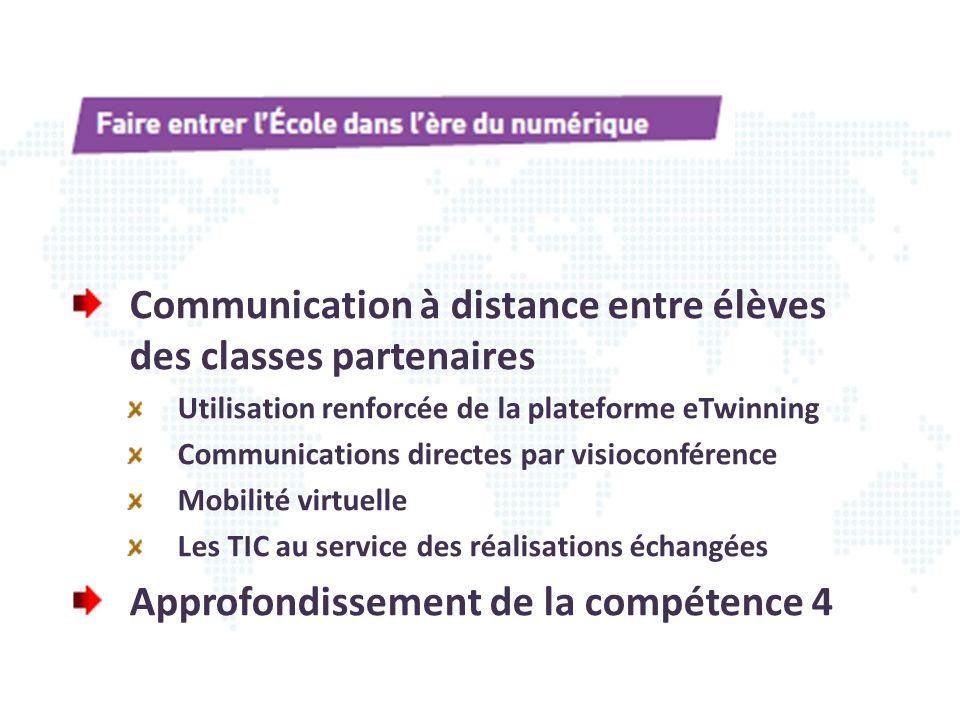 Communication à distance entre élèves des classes partenaires