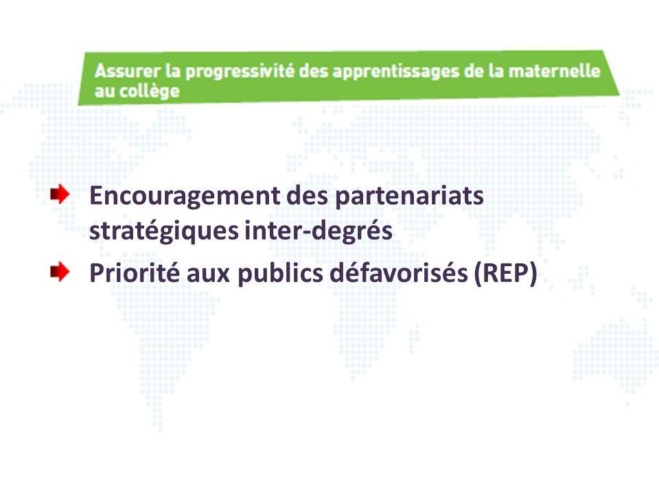 Encouragement des partenariats stratégiques inter-degrés
