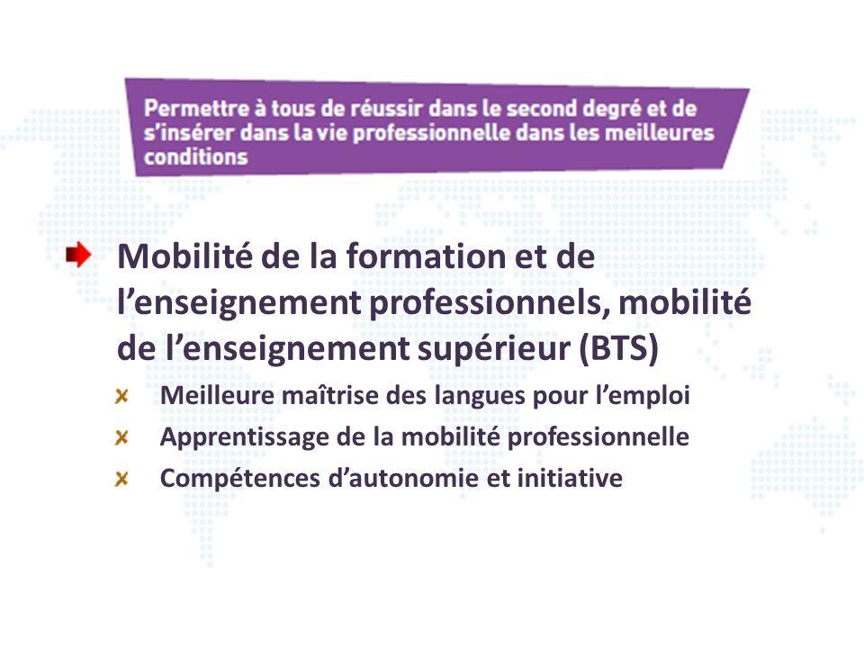 Mobilité de la formation et de l'enseignement professionnels, mobilité de l'enseignement supérieur (BTS)