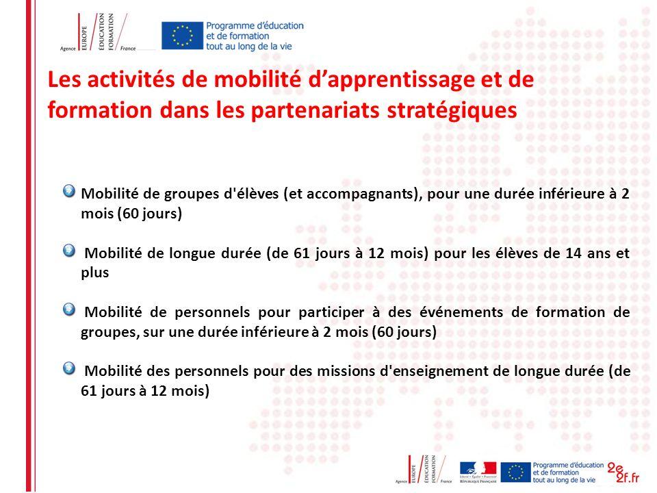 Les activités de mobilité d'apprentissage et de formation dans les partenariats stratégiques