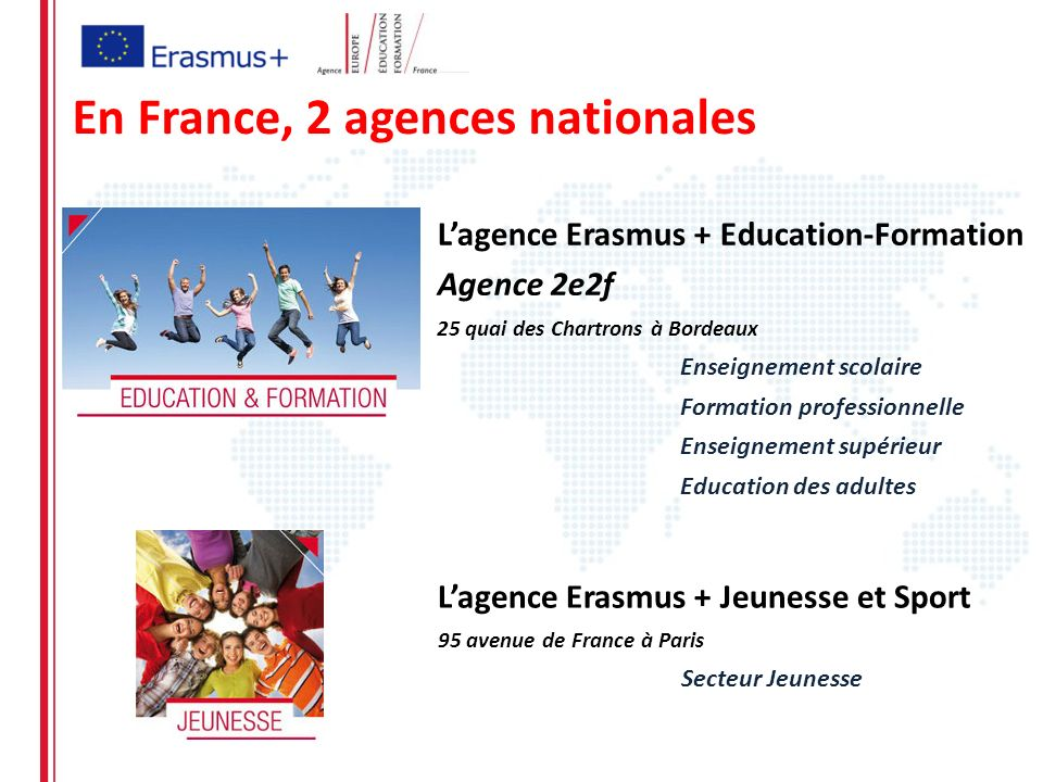 En France, 2 agences nationales