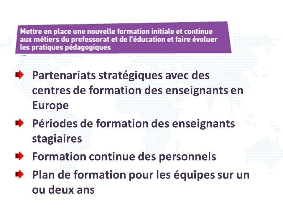Partenariats stratégiques avec des centres de formation des enseignants en Europe
