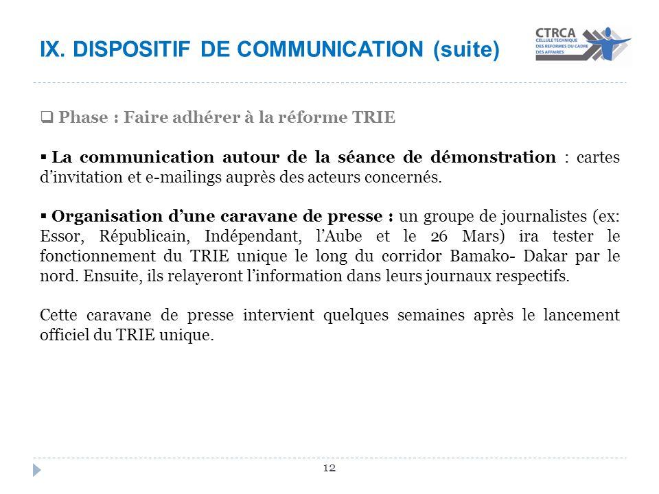 X. CONCLUSION La dynamique enclenchée pour mettre en œuvre le TRIE unique sur les 8 corridors entre le Mali et les sept pays frontaliers nécessite: