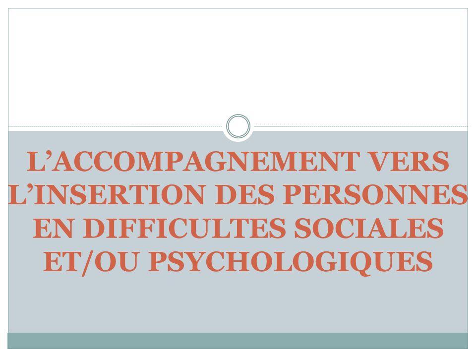 L'ACCOMPAGNEMENT VERS L'INSERTION DES PERSONNES EN DIFFICULTES SOCIALES ET/OU PSYCHOLOGIQUES