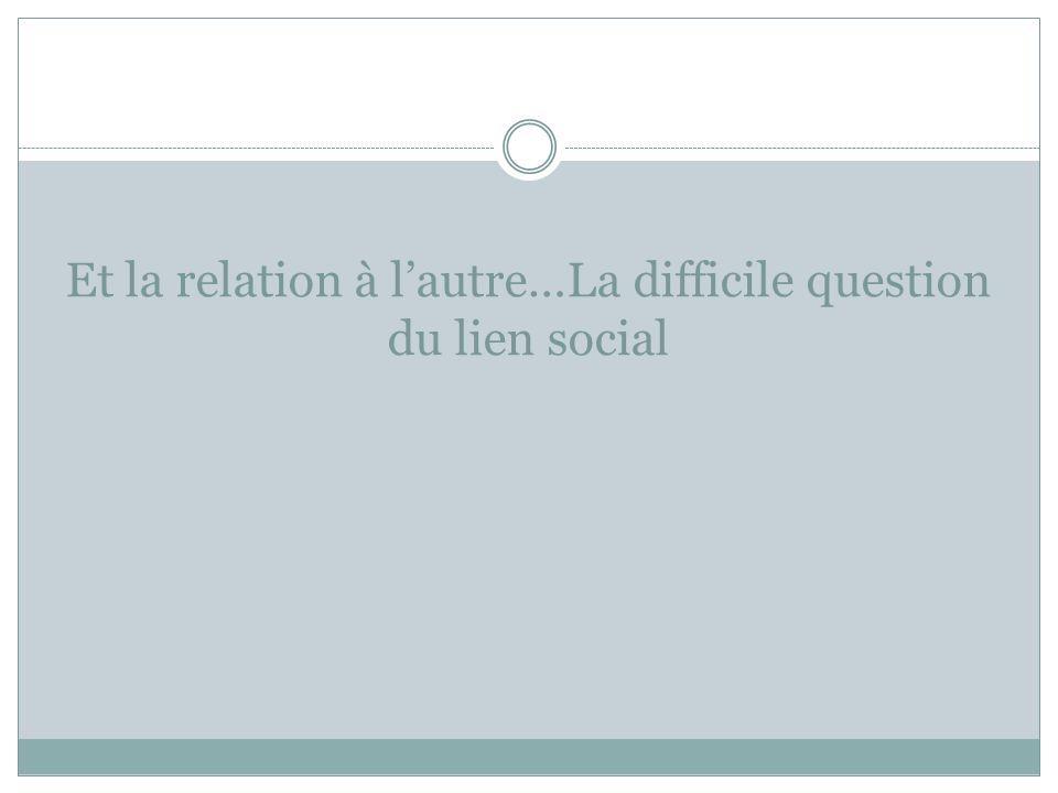 Et la relation à l'autre…La difficile question du lien social