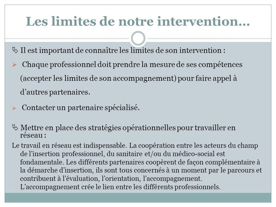 Les limites de notre intervention…