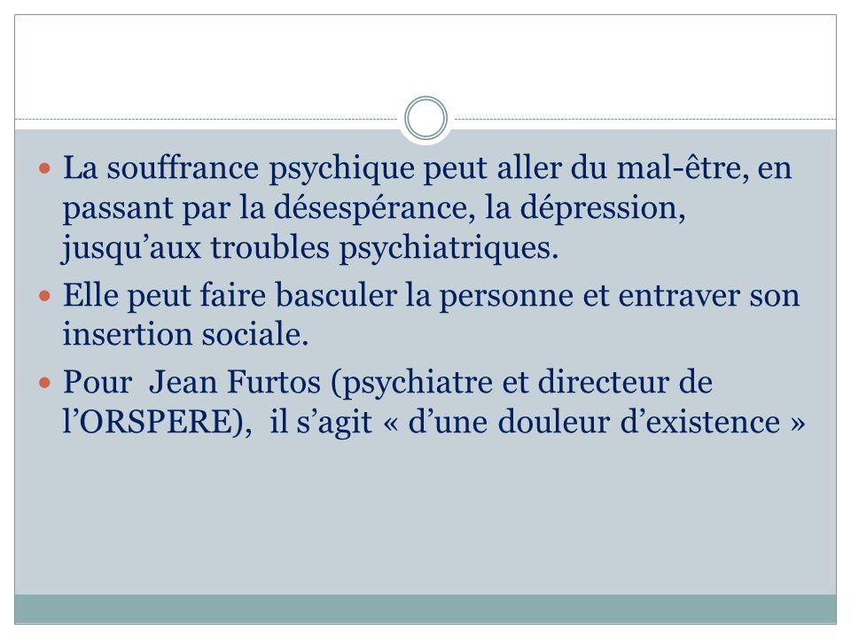 La souffrance psychique peut aller du mal-être, en passant par la désespérance, la dépression, jusqu'aux troubles psychiatriques.