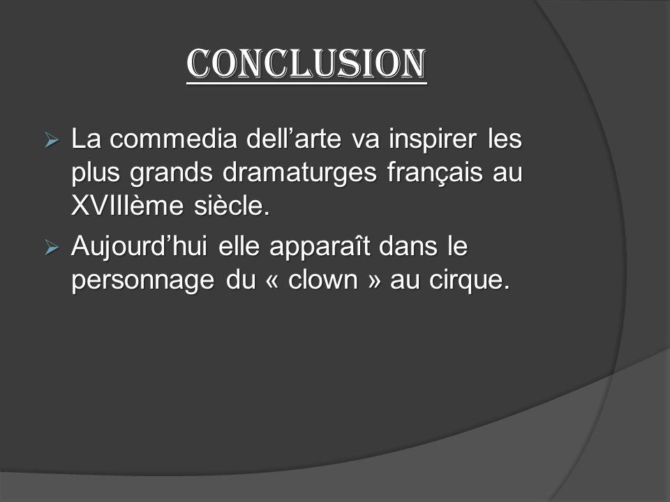 Conclusion La commedia dell'arte va inspirer les plus grands dramaturges français au XVIIIème siècle.