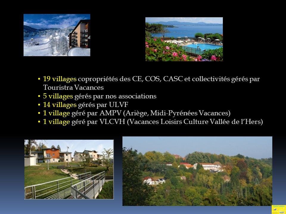 19 villages copropriétés des CE, COS, CASC et collectivités gérés par Touristra Vacances