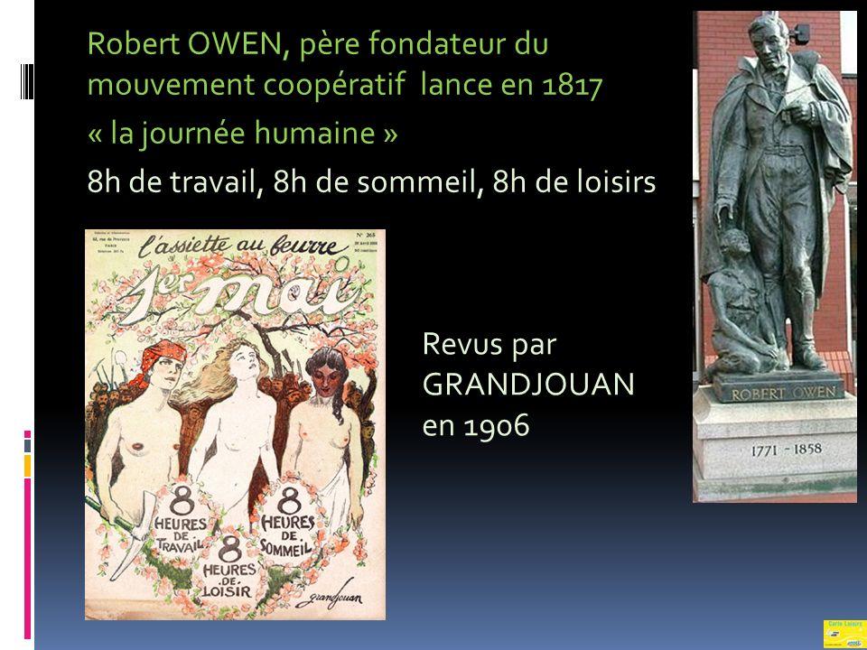 Robert OWEN, père fondateur du mouvement coopératif lance en 1817 « la journée humaine » 8h de travail, 8h de sommeil, 8h de loisirs