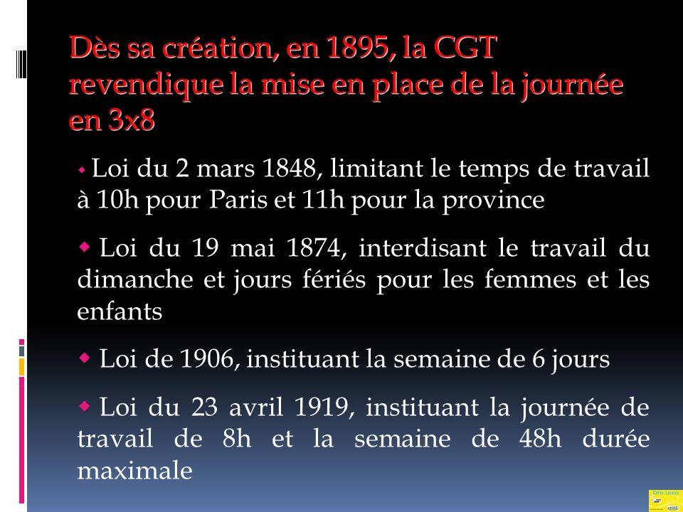 Dès sa création, en 1895, la CGT revendique la mise en place de la journée en 3x8