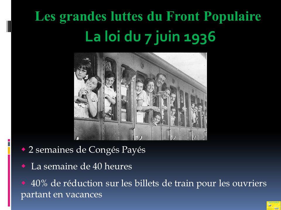 La loi du 7 juin 1936 Les grandes luttes du Front Populaire