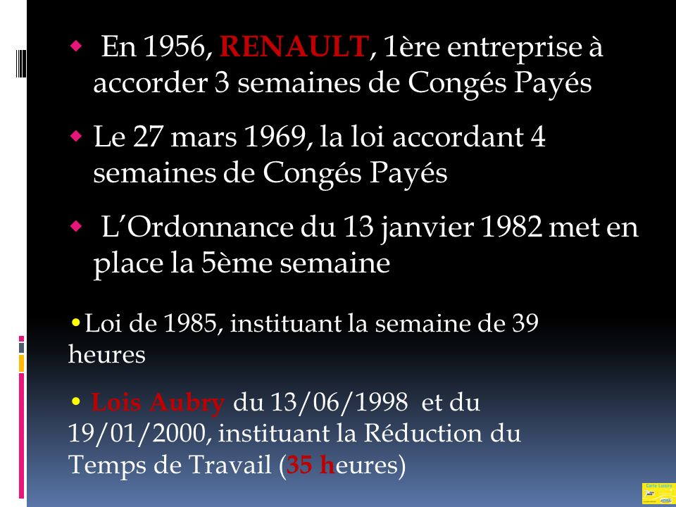 Le 27 mars 1969, la loi accordant 4 semaines de Congés Payés