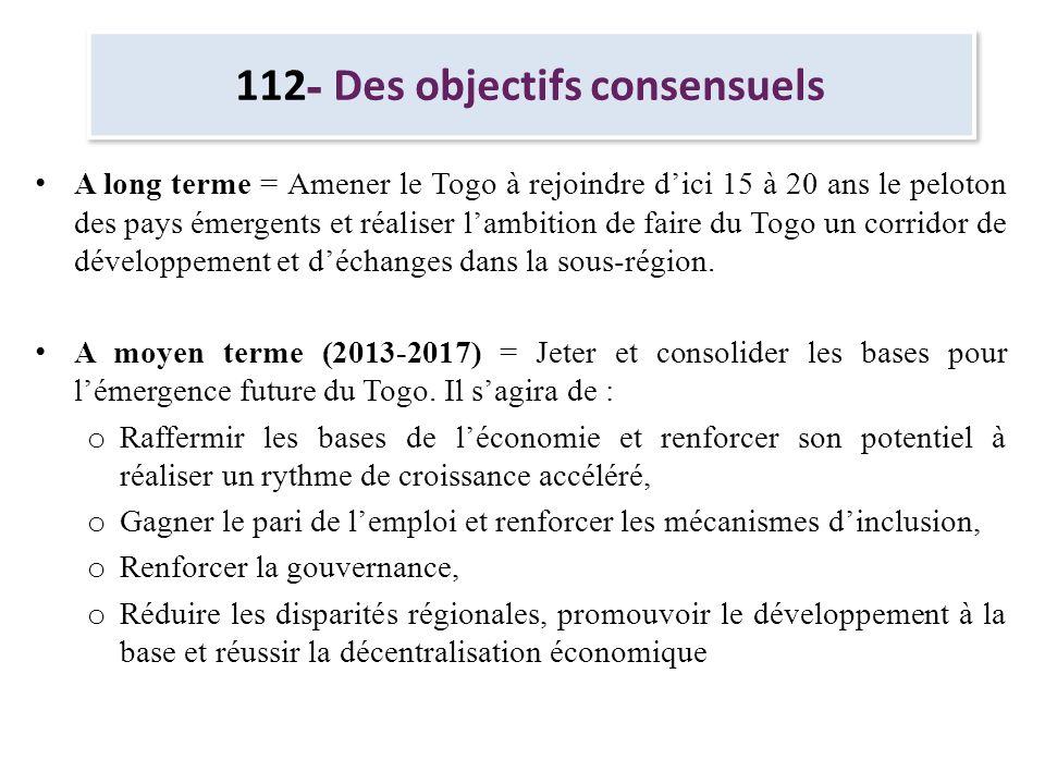 112- Des objectifs consensuels