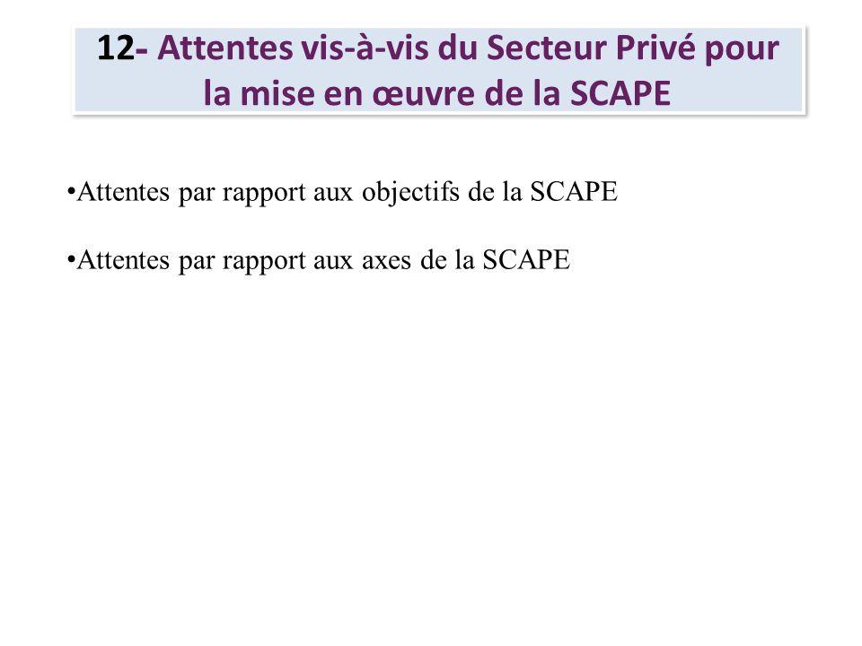 12- Attentes vis-à-vis du Secteur Privé pour la mise en œuvre de la SCAPE