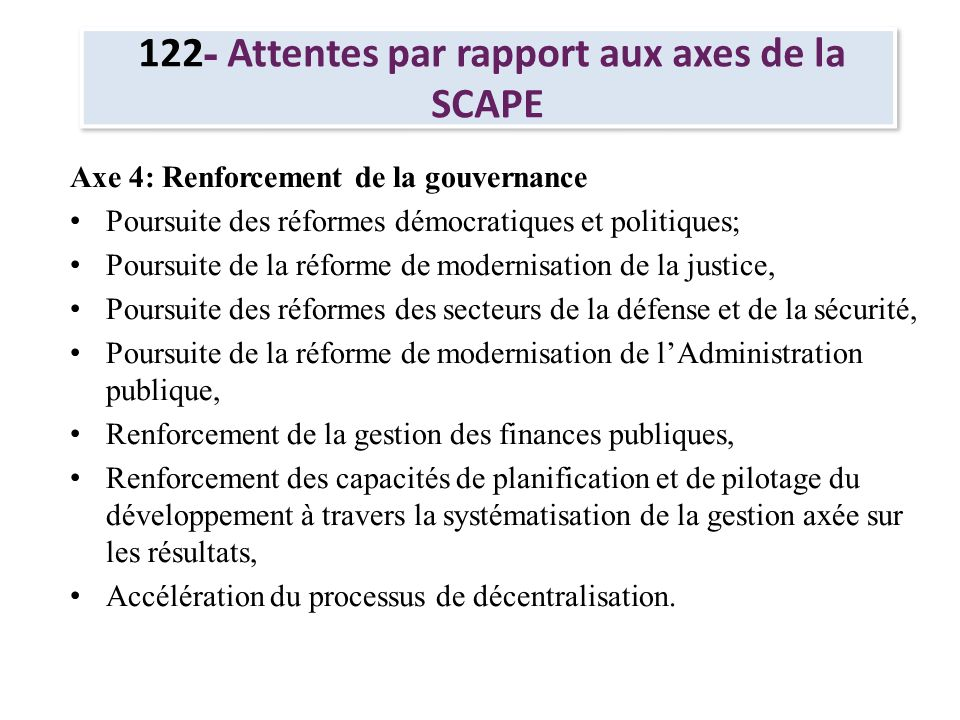 122- Attentes par rapport aux axes de la SCAPE