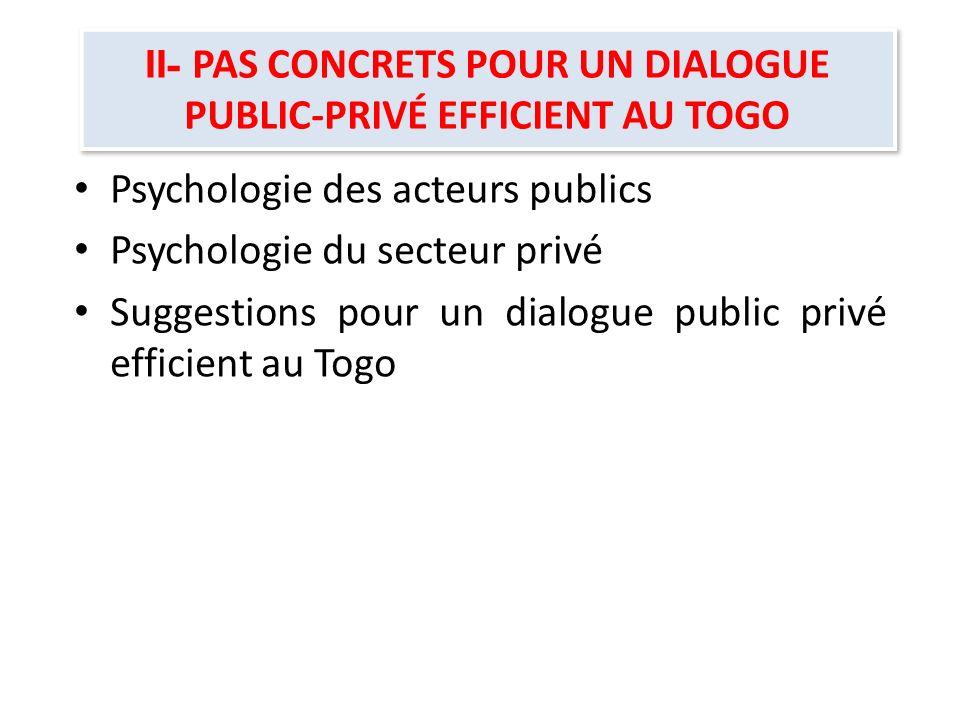 II- PAS CONCRETS POUR UN DIALOGUE PUBLIC-PRIVÉ EFFICIENT AU TOGO
