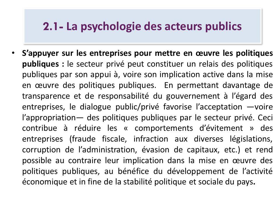 2.1- La psychologie des acteurs publics