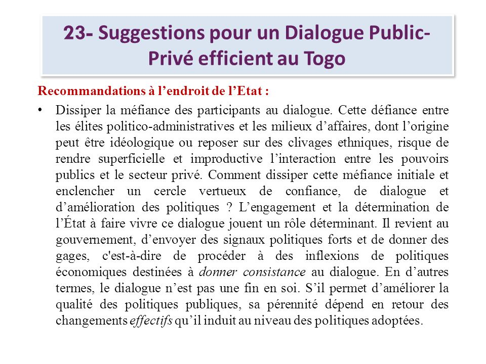 23- Suggestions pour un Dialogue Public-Privé efficient au Togo