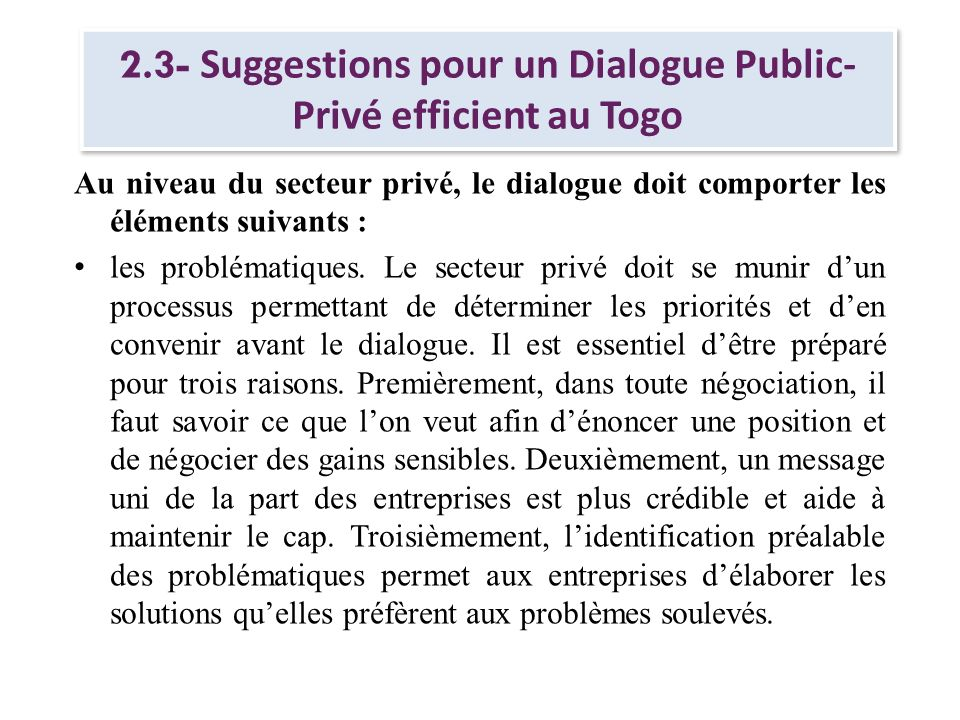 2.3- Suggestions pour un Dialogue Public-Privé efficient au Togo