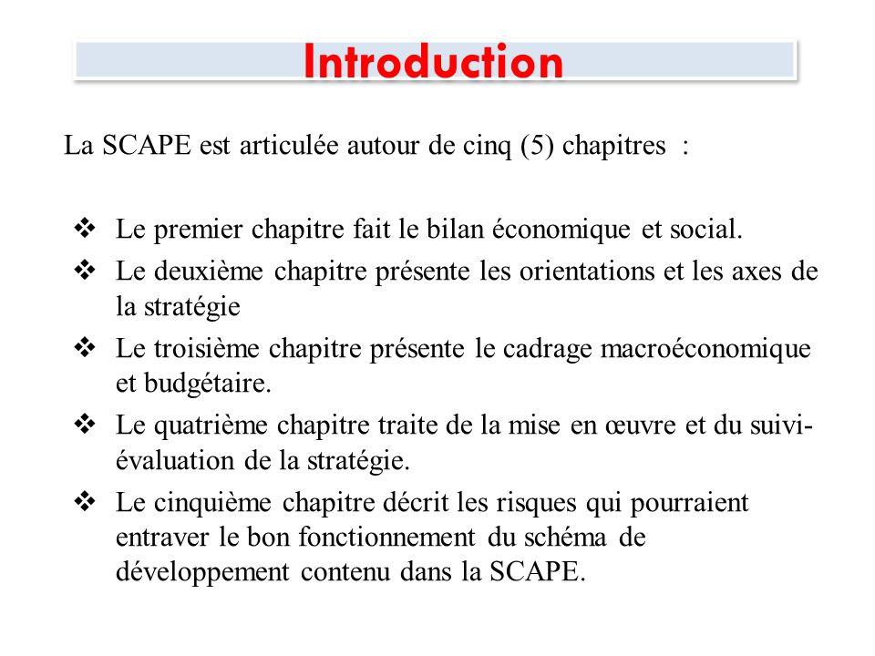 Introduction La SCAPE est articulée autour de cinq (5) chapitres :
