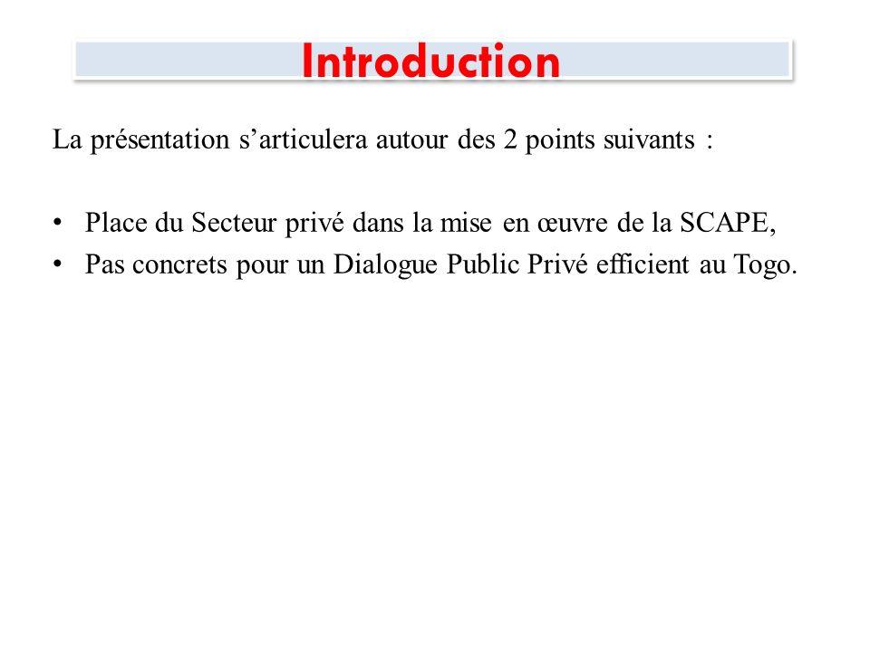 Introduction La présentation s'articulera autour des 2 points suivants : Place du Secteur privé dans la mise en œuvre de la SCAPE,